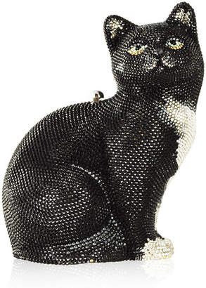 Judith Leiber Couture Jinx Cat Crystal Hard Clutch Bag