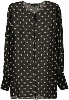 Theory polka dot sheer blouse