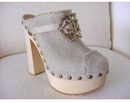 Chanel pristine (PR Linen Cap-Toe Platform Wood Clog with Jewel Accent Size 10.5 - Sold out in stores.