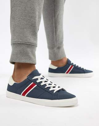Pull&Bear Canvas Sneaker With Side Stripe In Navy