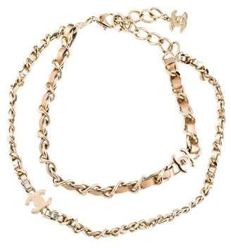 Chanel Metallic Leather Braided Chain-Link Double Strand Necklace