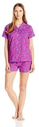 Bottoms Out Women's Semi Sheer Woven Sleeve & Short Sleep Set