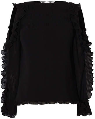 Karen Millen Cold Shoulder Ruffle Blouse