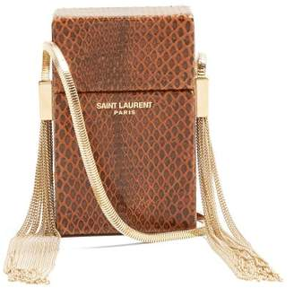 Saint Laurent Smoking Minaudiere Leather Cross Body Bag - Womens - Brown  Multi 67a0d5008e34a