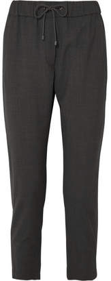 Brunello Cucinelli Bead-embellished Wool-blend Track Pants - Gray
