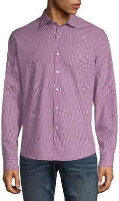 Claiborne Mens Long Sleeve Pattern Button-Front Shirt