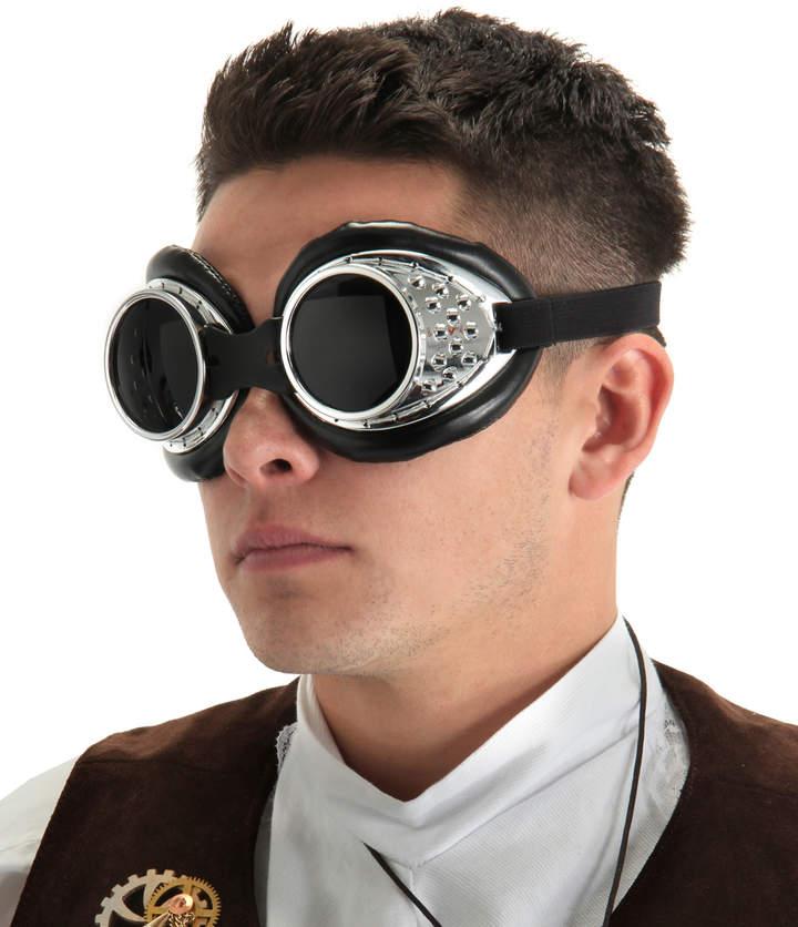 Silver & Black Radioactive Aviator Goggles