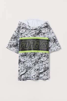 H&M Short-sleeved Hooded Shirt - White