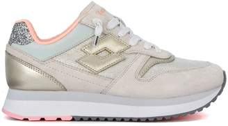 Lotto Leggenda Slice Beige And Gold Leather Sneaker