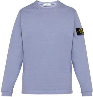 Stone Island Logo Patch Cotton Sweatshirt - Mens - Light Purple