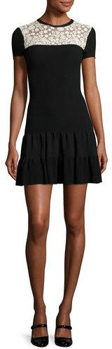 RED ValentinoRED Valentino Short-Sleeve Lace-Yoke Fit-&-Flare Dress, Nero/Ecru