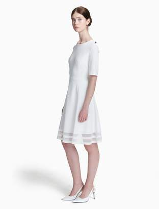 Calvin Klein illusion 3/4 sleeve fit + flare dress