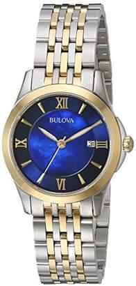 Bulova Women's Quartz Stainless Steel Dress Watch, Color:Two Tone (Model: 98M124) $299 thestylecure.com
