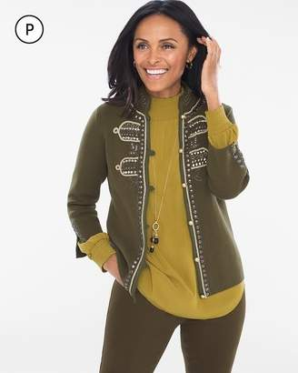 Chico's Petite Military Embellished Cardigan