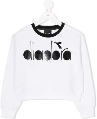 Diadora Junior logo printed cropped sweatshirt