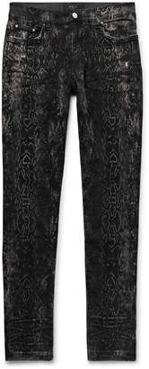 Amiri Skinny-Fit Distressed Snake-Print Stretch-Denim Jeans - Men - Gray
