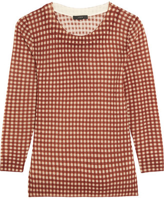 J.Crew - Tippi Gingham Merino Wool Sweater - Brown $85 thestylecure.com