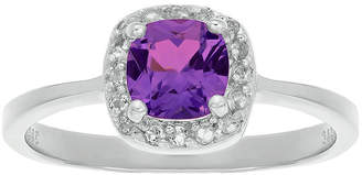 FINE JEWELRY Cushion-Cut Genuine Amethyst and White Topaz Sterling Silver Ring