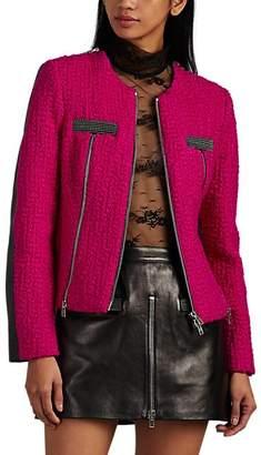 Alexander Wang Women's Wool Tweed & Leather Moto Jacket - Md. Pink
