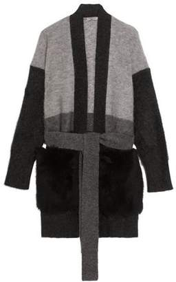 Bottega Veneta Shearling-Paneled Mohair-Blend Cardigan
