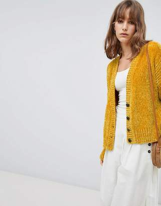 Asos Design DESIGN Cropped Cardigan In Chenille With Buttons