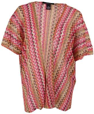 Cejon Thats So 70s Women's Zigzag Knit Cover up, Brown Orange