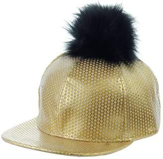 NYFASHION101 Unisex Style Faux Fur Pom Pom Snapback Flat Bill Cap Hat - Faux Croc Bill, All Black