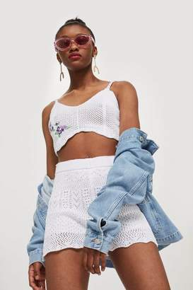 Topshop Scallop Edge Embroidered Bralet
