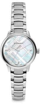 Burberry Diamond, Mother-Of-Pearl & Stainless Steel Bracelet Watch