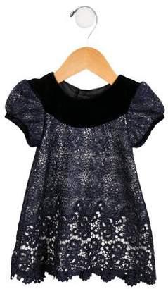 Isabel Garreton Girls' Velvet-Accented Lace Dress