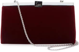 Christian Louboutin Palmette Small Velvet Clutch Bag