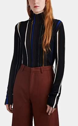 AKIRA NAKA Women's Striped Rib-Knit Wool-Blend Turtleneck Sweater - Black