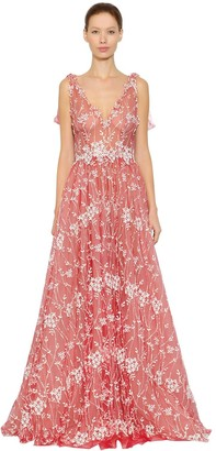 Luisa Beccaria Floral Embroidered Tulle Dress