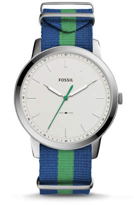 Fossil The Minimalist Three Hand Navy And Green Polyester Watch