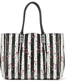 Lanvin Floral-Print Striped Textured-Leather Tote