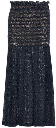 Smocked Cotton-Blend Lace Maxi Skirt