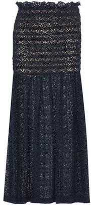 Stella McCartney Smocked Cotton-Blend Lace Maxi Skirt
