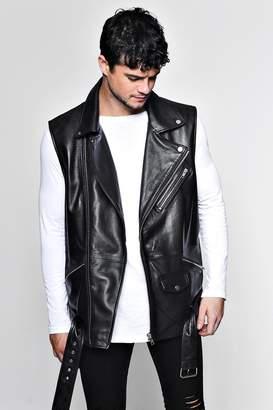 boohoo Real Leather Tassel Sleeveless Biker Jacket