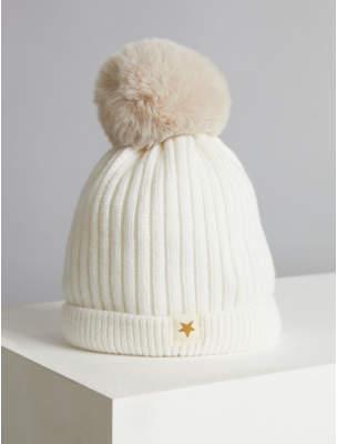 Bobble George Billie Faiers Cream Rib Knit Faux Fur Pom Pom Hat