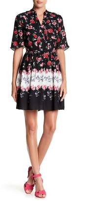 Cynthia Steffe CeCe by Short Sleeve Tie Neck Floral Print Dress