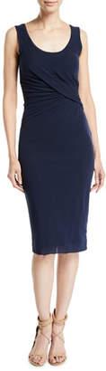 Fuzzi Scoop-Neck Knee-Length Shirred Tank Dress