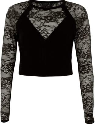 River Island Womens Black lace insert long sleeve fitted top