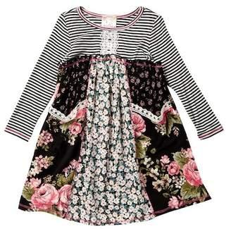 Pink Vanilla Long Sleeve Challis Print Pocket Dress (Toddler & Little Girls)