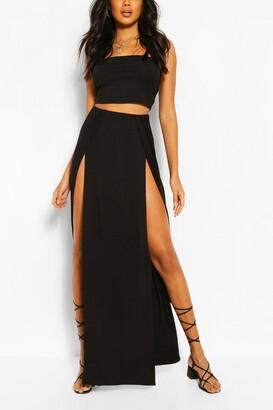 boohoo Thigh Split Maxi Skirt