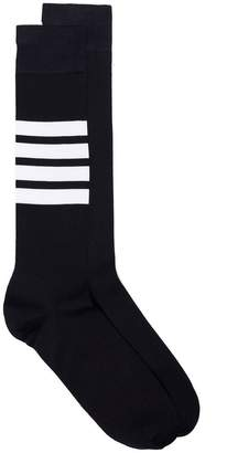 Thom Browne Over The Calf Socks With White 4-Bar Stripe In Lightweight Cotton
