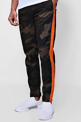 boohoo NEW Mens Camo Trousers With Orange Side Panel in Khaki size 28