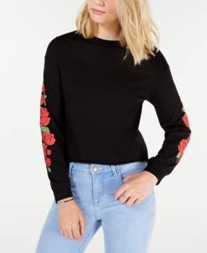 Rebellious One Juniors' Cotton Rose Graphic T-Shirt