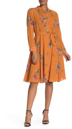 Nanette Lepore NANETTE Floral Pintuck Long Sleeve Dress