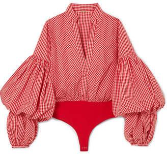 Johanna Ortiz Jicarilla Gingham Cotton-blend And Stretch-jersey Bodysuit - Red