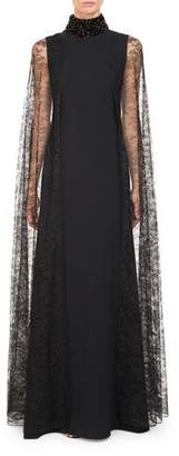 Givenchy High Beaded-Neck Cady Evening Gown w/ Lace Cape Sleeves